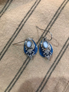 Midnight Blue and Agate Drop Earrings