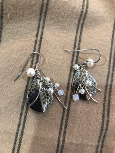 Hammered Metal and Pearl Beaded Earrings