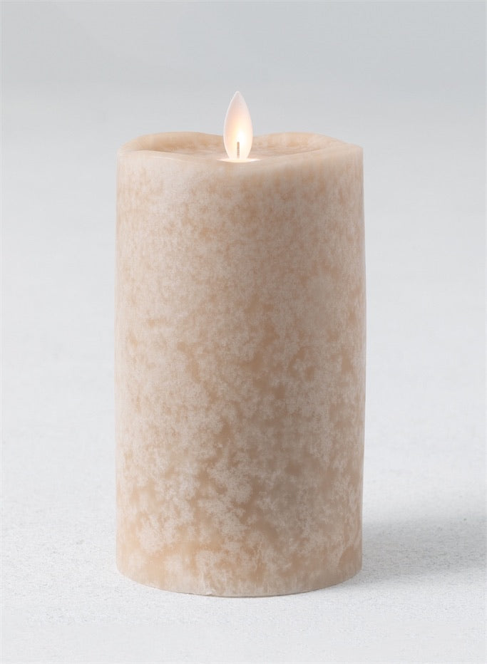 Mottled Pillar Candle in Flax