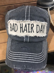 Bad Hair Day Ball Cap in Black