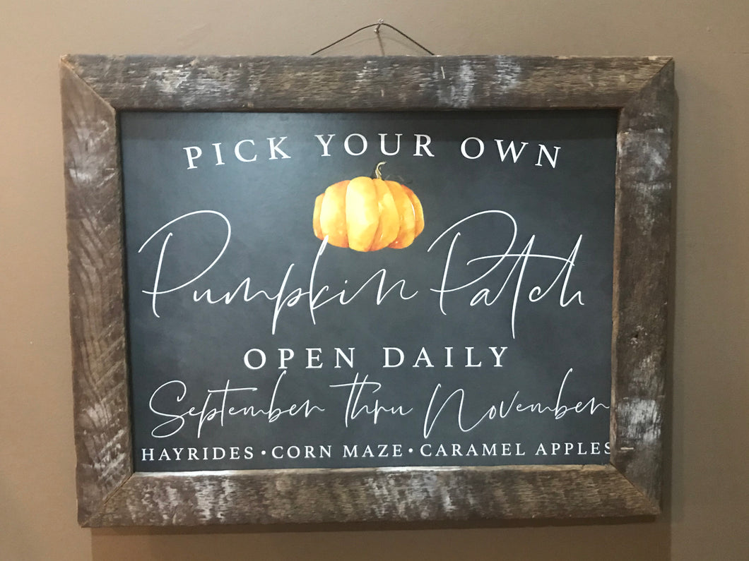 Pick Your Own Pumpkin Sign