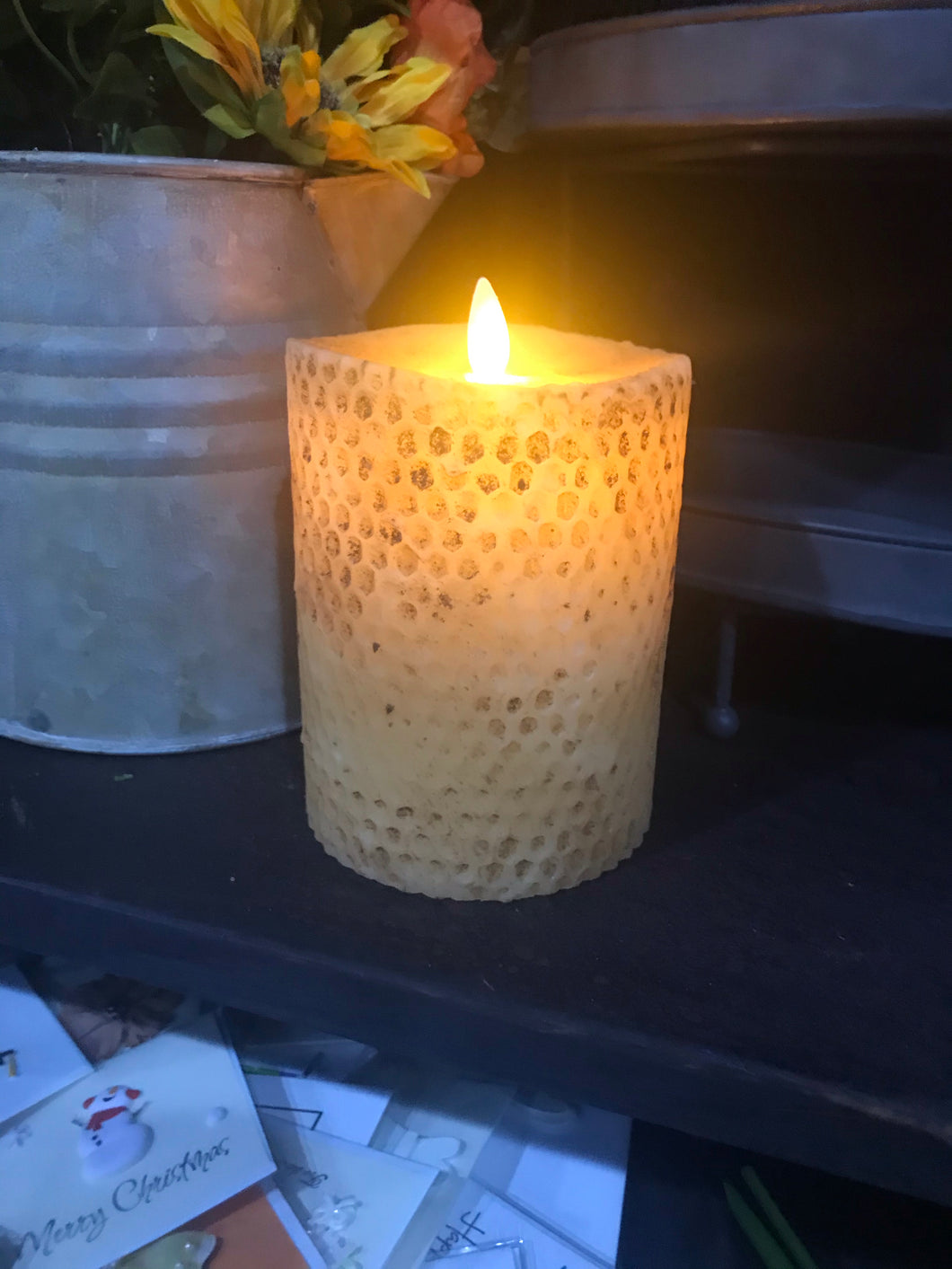 Flameless Battery-Operated Grubby Timer Candle