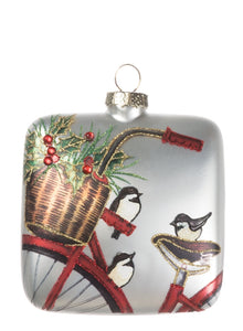 Bike with Bird Square Ornament