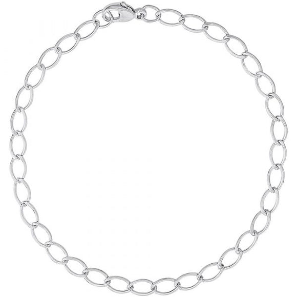 Petite Oval Link Classic Charm Bracelet in Sterling Silver