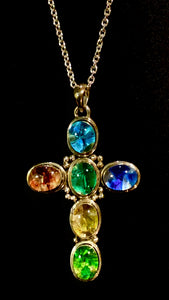 "Sterling Silver Stained Glass Cross Pendant with 24"" Chain"