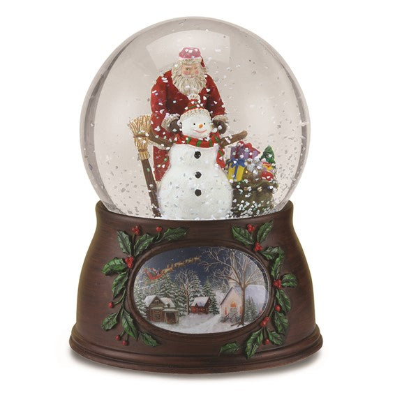 Musical Santa and Snowman Glitter Dome