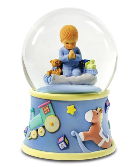 Bedtime Prayers Boy Rotating Waterglobe