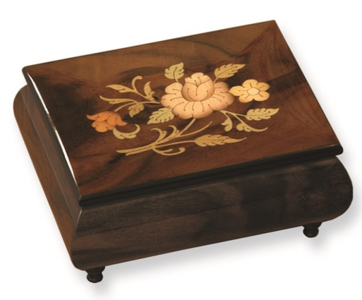 Brown Floral Inlay Music Box