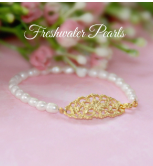 Freshwater Pearl and Lace Filigree Bracelet