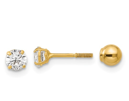14K Reversible Ball and CZ Earrings