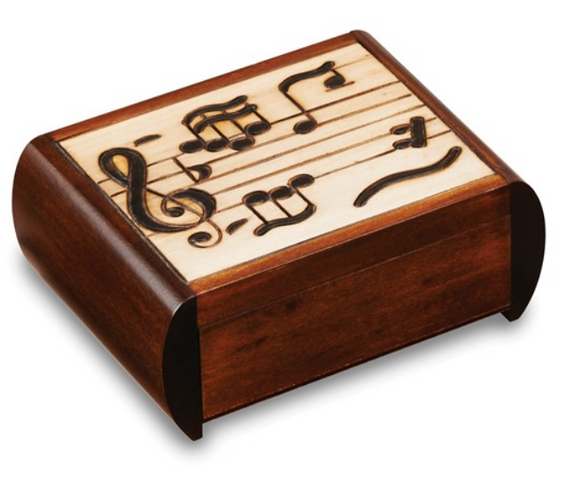 Music Carved Painted Wooden Puzzle Box