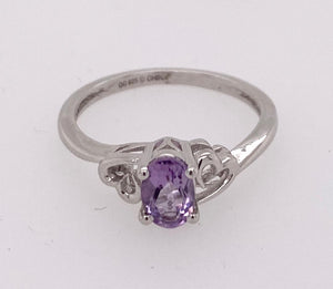 Sterling Silver Created Amethyst Ring