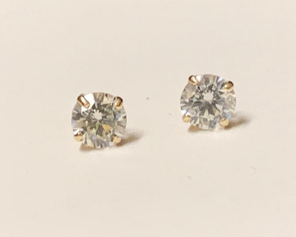 Sterling Silver CZ Baby Earrings