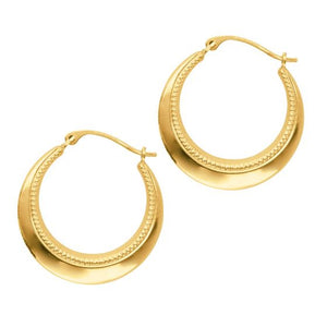14K Yellow Gold Shiny Textured Graduated Round Symbolic Hoop Earring with Hinged Clasp