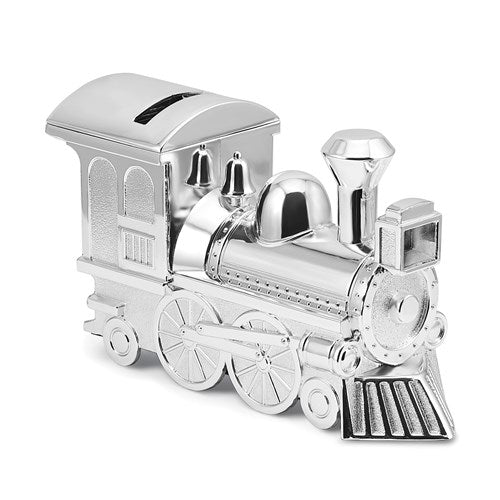 Silver-Tone Finish Train Bank