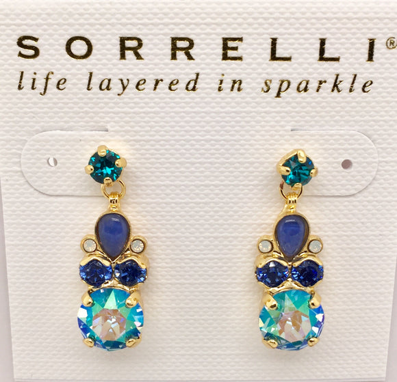 Sorrelli Round & Pear Crystal Post Earrings