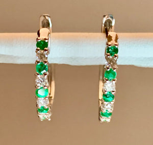 14K White Gold Emerald & Diamond Earring