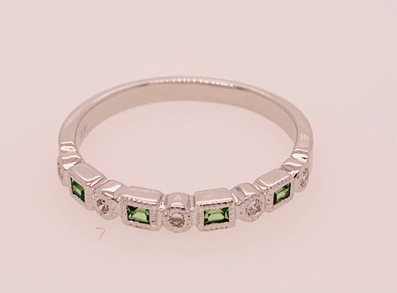 White Gold and Tsavorite Garnet Band