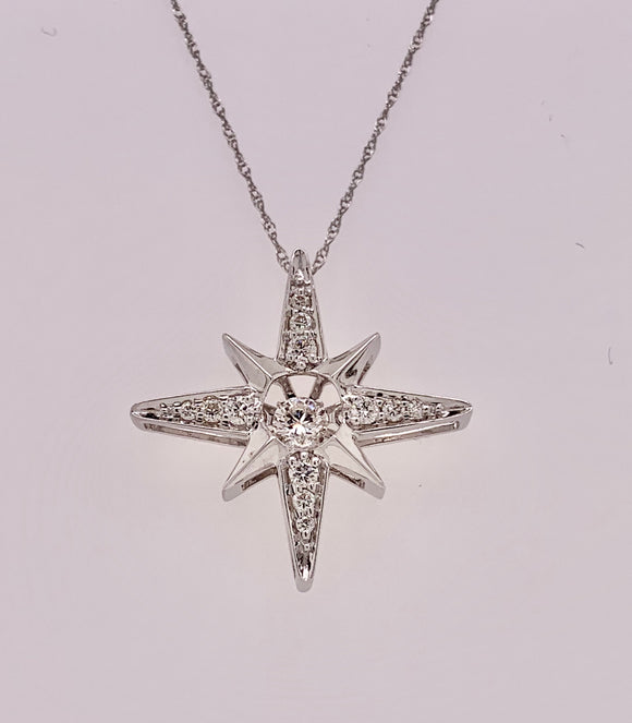 14K White Gold Motion Diamond Pendant