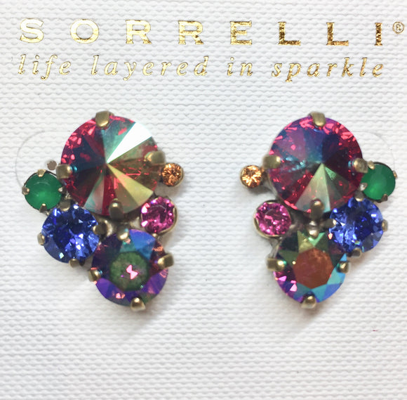 Sorrelli Crystal Assorted Rounds Post Earrings