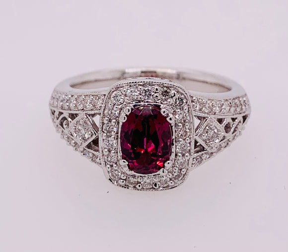 14K Rhodolite and Diamond