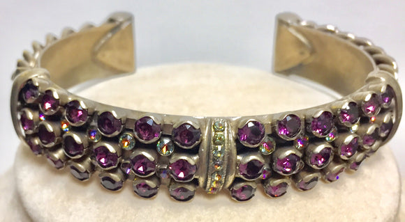 Sorrelli Multi Row Crystal and Chain Cuff Bracelet