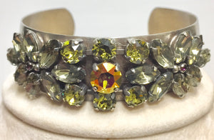 Sorrelli Floral Accent Crystal and Metal Cuff