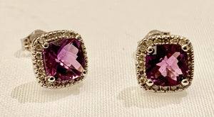 10K White Gold Amethyst and Diamond Earring