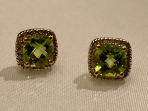 10K Peridot and Diamond Earrings