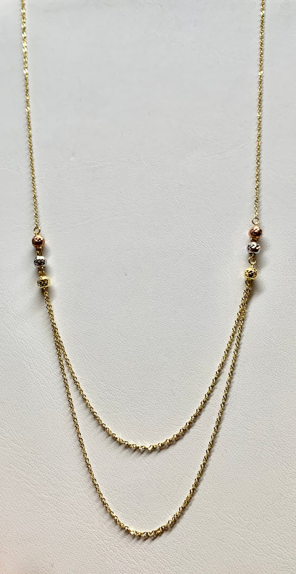 14K Yellow/Rose/White Designer Necklace