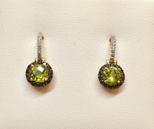 Peridot/Smokey Quartz/ Diamond Earrings