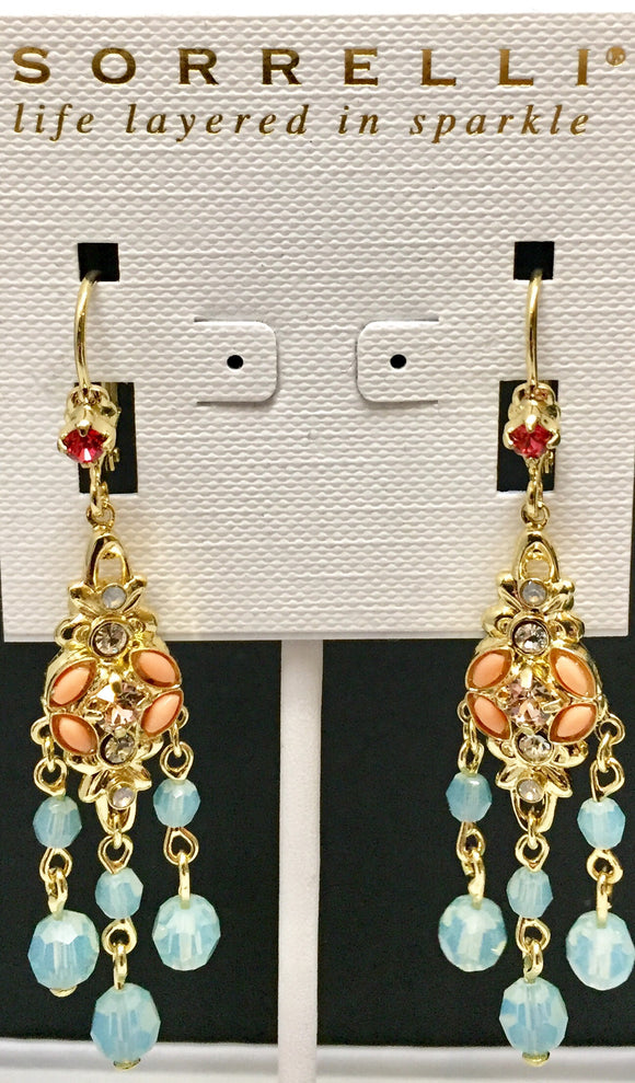 Sorrelli Crystal and White Cats Eye Chandelier Earrings