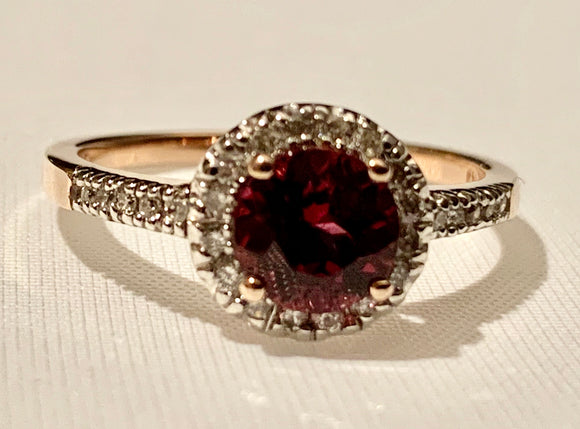 10K ROSE GOLD GARNET AND DIAMOND RING