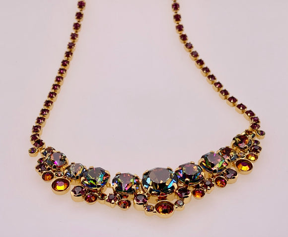 Multi-cut Round Crystal Cluster Line Necklace