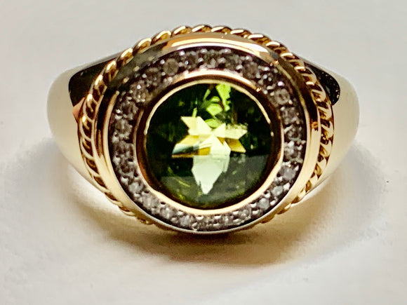 14K Yellow Gold Peridot & Diamond Ring