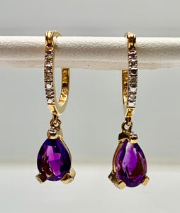 14K Amethyst & Diamond Earrings