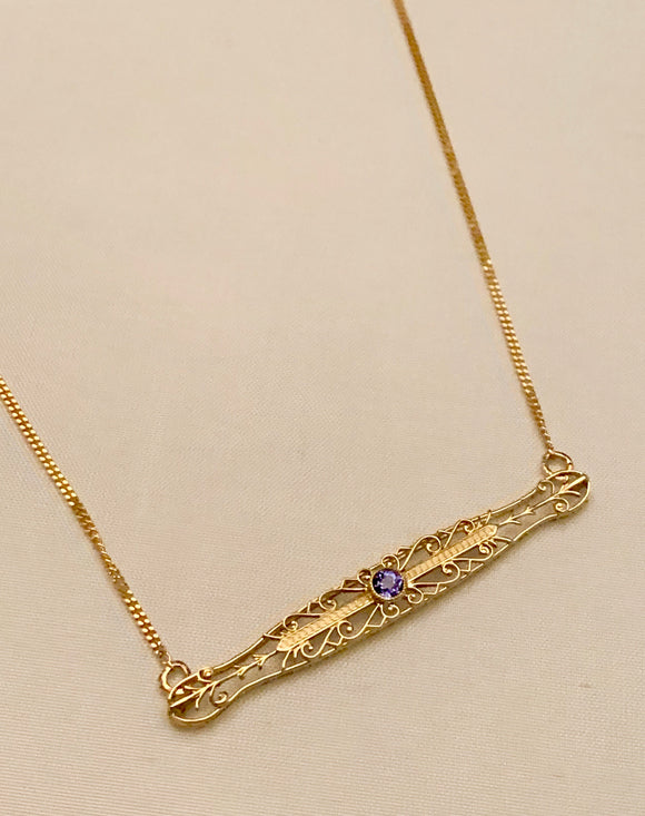 14K Estate Bar Pin Necklace