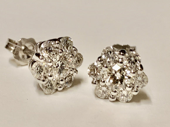 1.11 Carat Total Weight Diamond Earrings
