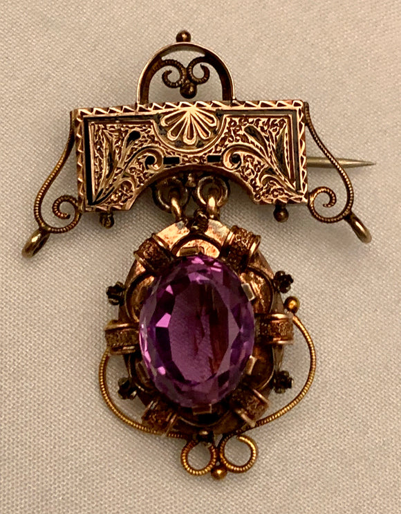 14K Estate Amethyst Brooch