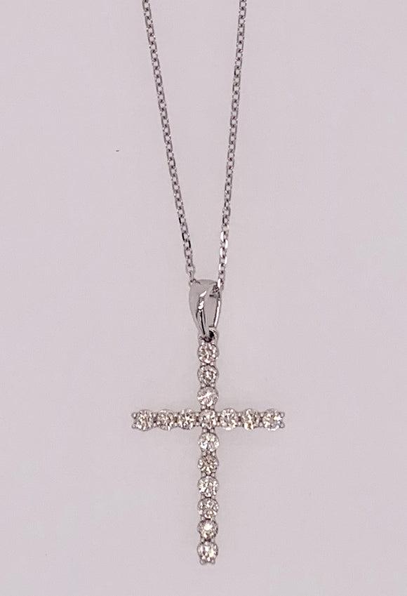 14K Cross Diamond Pendant