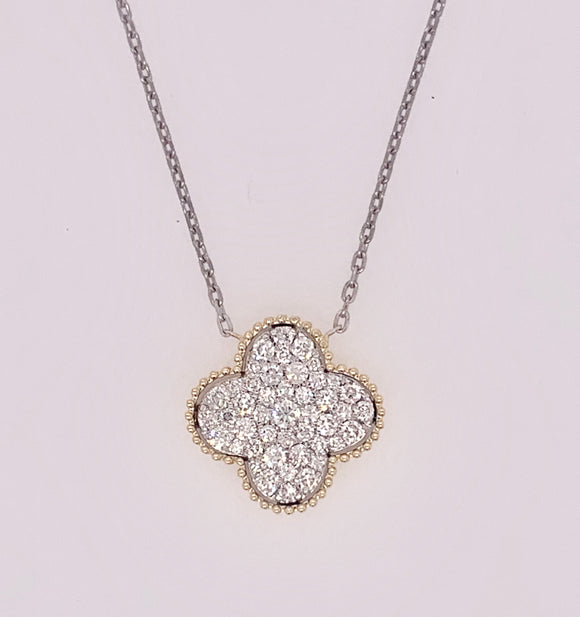 14K Quatrefoil Design  Diamond Pendant