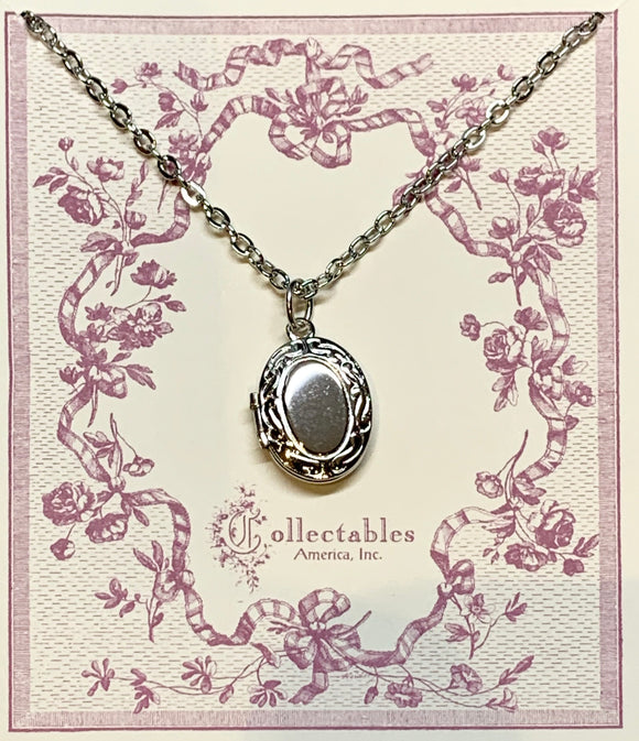 Medium Oval Rhodium Locket