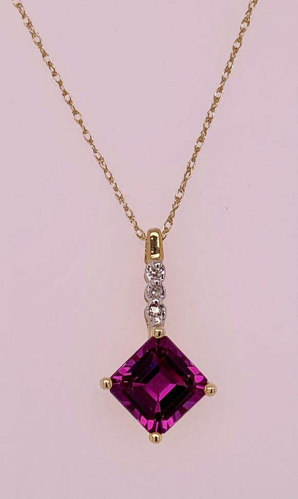 Created Alexandrite & Diamond Pendant