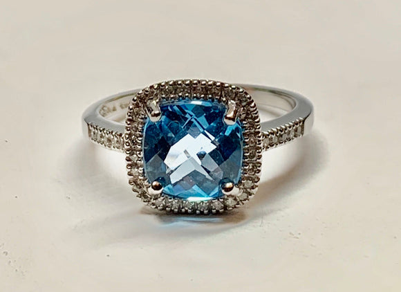 14K Blue Topaz & Diamond Ring