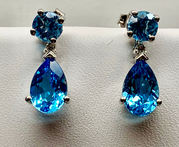 Blue Topaz Two Piece Earring