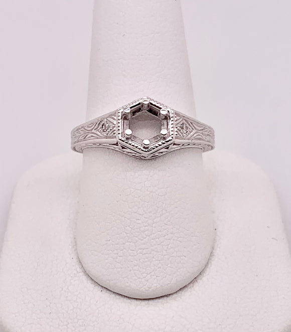 14K White Gold Solitaire Mounting