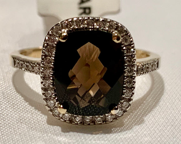 14K Yellow Gold Smokey Quartz and Diamond Ring