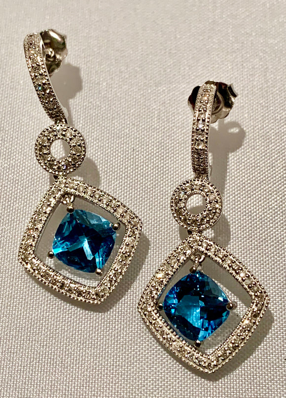 14K BLUE TOPAZ AND DIAMOND EARRINGS
