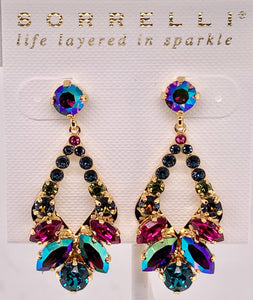 Navette and Round Crystal Adornment Dangle Earrings