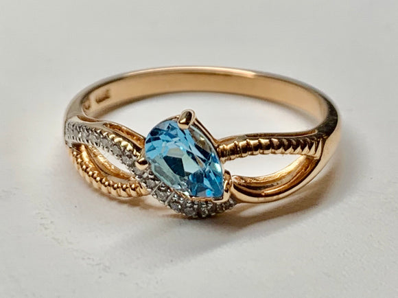 14K Rose Gold Blue Topaz & Diamond Ring